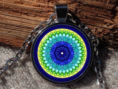 Blue Green and yellow Kaleidoscope pendant Kaleidoscope by Aranji