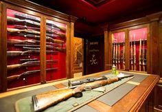 Armory Room Design With Glass Cases Hidden Gun Storage, Weapon Storage, Ammo Storage, Storage Room, Gun Safe Room, Gun Vault, Best Concealed Carry, Vault Doors, Gun Rooms
