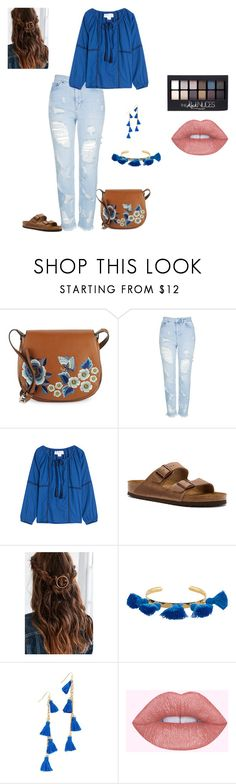 """""""all about the purse"""" by jbillington ❤ liked on Polyvore featuring French Connection, Topshop, Velvet, Birkenstock, Urban Outfitters, Marte Frisnes, Vanessa Mooney, Maybelline, FrenchConnection and saddlebag"""