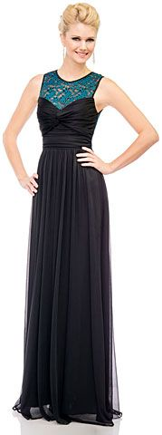 See-Thru Lace Back Long Formal Dress with Twist Knot. 11406.