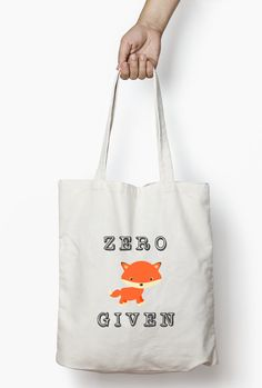 Sarcastic tote, Zero fox given tote bag. This funny fox tote bag and typography bag is a cotton canvas tote bag ideal as a book bag, shopping bag. This