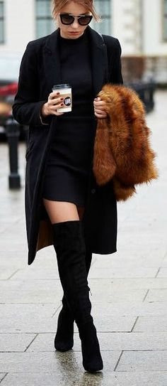 All Black & faux fur | fall style.
