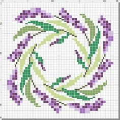 Lavandar wreath spring summer cross stitching / Lavendel Kranz Frühling Sommer Kreuzstich