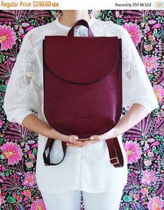SALE Soft leather backpack, burgundy bag, half moon bag, large leather backpack, backpack for women