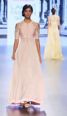 Pastel pink anarkali with front open and cut out shoulders by Anushree Reddy at Lakme Fashion Week Summer Resort 2016