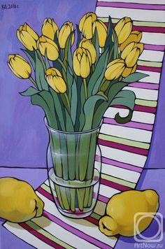 Калинкина Дина. Натюрморт с тюльпанами и айвой