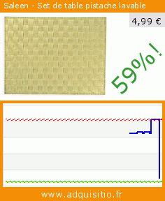 Saleen - Set de table pistache lavable (Cuisine). Réduction de 59%! Prix actuel 4,99 €, l'ancien prix était de 12,18 €. https://www.adquisitio.fr/saleen/set-table-pistache