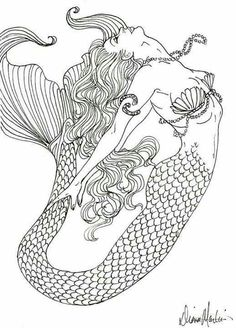 Mermaid Coloring Book for Adults Fresh Realistic Mermaid Coloring Pages Detailed Coloring Pages, Coloring Pages To Print, Coloring Book Pages, Printable Coloring Pages, Free Adult Coloring Pages, Kids Coloring, Coloring Sheets, Mermaid Drawings, Mermaid Tattoos