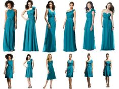 Teal Bridesmaids Dresses   Take a look at these gorgeous Teal Bridesmaids dresses.  If teal is your number, these dresses will go perfect fo...