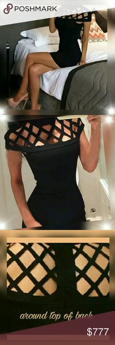 """👄 Sexy & Gorgeous Black bandage style dress👄 Brand new Sexy, sensual styling are the main features of this lovely dress with a lattice cut out top that covers the shoulders to create a short """"unisleeve"""" that cuts across the top half of your body. A high collar finishes off the top of this fine garment created with a great attention to detail and design. The dress has a short hemline with a narrow edge and a tapered body that hugs your hips and curves, showing off your derriere. The lattice…"""