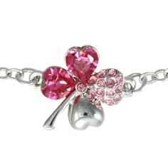 18k Gold Plated Swarovski Crystal Heart Shaped Four Leaf Clover Chain Bracelet - Pink Sapphire Dahlia. $25.95. Dahlia offers Quality Guarantee to ensure your risk free shopping experiences. A beautifully designed jewelry package is included for an impressive gift presentation. Set with heart shaped authentic Swarovski crystals and small Austrian crystals. Plated with 18K white gold to add resistance to tarnish. Intricate high polish creates glamorous reflections...