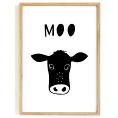 Cow Moo Print  Farmyard nursery decor is competed with this gorgeous illustrated cow. Favourite animals look great in nurseries and this hand drawn cow is stunning in black and white.