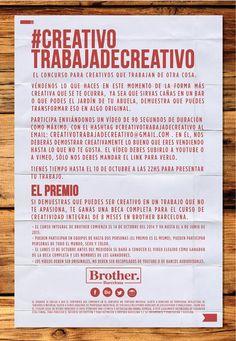 ¿Estás trabajando de lo que te apasiona o es solo un trabajo? #Creativotrabajadecreativo , un concurso para #creativos que trabajan de otra cosa de Brother Barcelona Escuela de Creativos