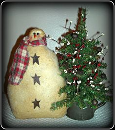 Primitive SnOwMan with Tree in Vintage Tin Cup!! #Primitive #HomegrownTreasures