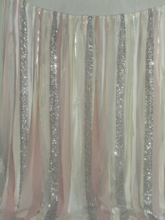 A toned down version would be pretty in a bathroom or bedroom.... Silver Sequin Fabric Garland Blush pink White and by ChangesByNeci, $79.00