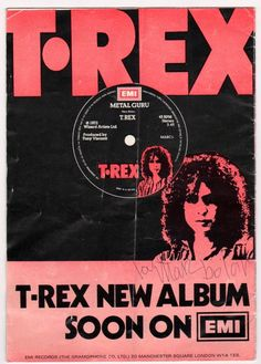 """A 12 page signed program for T-Rex's June 1972 UK Tour (which was only 4 dates) autographed by Marc Bolan on the back cover """"love Marc Bolan"""" (on a great ad for Rare Records, Vinyl Records, Rock N Roll Music, Rock And Roll, Electric Warrior, Marc Bolan, 70s Music, Glam Rock, Cool Posters"""