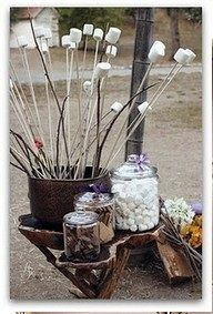 """smores station - great idea for that fall """"southern"""" party called a chicken stew. But, my fav-o-right fall party is a brunswick stew. Holi Party, Bar A Bonbon, S'mores Bar, Bar Set, Halloween Party Games, Halloween Peeps, Halloween Camping, Think Food, Party Entertainment"""