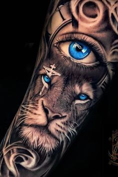 Tiger Eyes Tattoo, Lion Arm Tattoo, Realistic Tattoo Sleeve, Lion Forearm Tattoos, Animal Sleeve Tattoo, Tattoos Realistic, Lion Tattoo Sleeves, Lion Head Tattoos, Mens Lion Tattoo