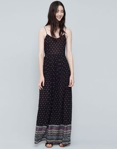 :LONG PRINTED DRESS WITH BORDER