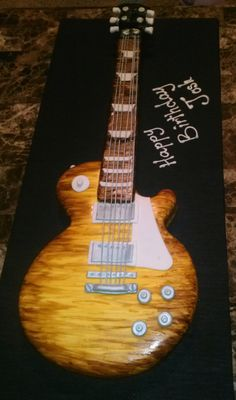 Guitar Cake Gibson Les Paul Lemon Cake With Lemon Cream Filling Hand Painted Wood Grain Guitar cake. Gibson les Paul lemon cake with lemon. Guitar Birthday Cakes, Guitar Cake, 40th Birthday Cakes, Birthday Party Themes, Music Cakes, Les Paul Guitars, Guitar Painting, Lemon Cream, Gibson Les Paul