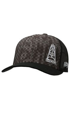 53e82976d47 HOOey Grey   Black Block with Hog Logo Black Mesh Back Cap Western Hats