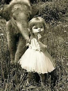 Cuteness overload...baby elephant & little girl, vintage picture