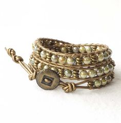 Brown Wrap Bracelet Bronze Leather by connectionsbymaya on Etsy, $42.00