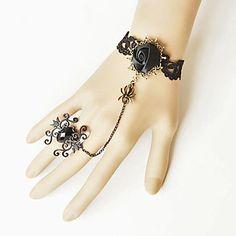 Handmade Thorn Flower Black Satin Gothic Lolita Bracelet