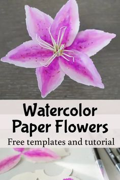 free templates and tutorial, cricut paper flower making Rolled Paper Flowers, How To Make Paper Flowers, Giant Paper Flowers, Paper Flower Tutorial, Flower Template, Card Making Techniques, How To Make Diy, Flower Petals, Print And Cut