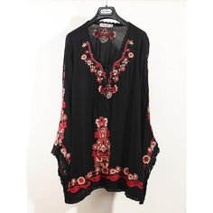 Women's Cotton Embroidered Vintage Ethnic Mexic Loose Casual Long Sleeve Dresses