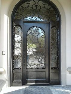 Custom Wrought Iron Door + Sidelites + Transom
