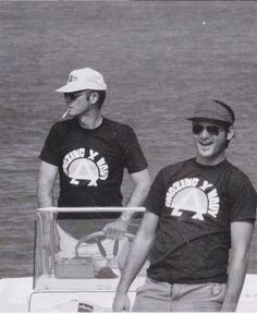 "Bill Murray  with Hunter S. Thompson. He's the guy who wrote ""Fear and Loathing in Las Vegas"" Wow, an interesting character. Bill Murray took his life in his hands letting him drive the boat...HA!"