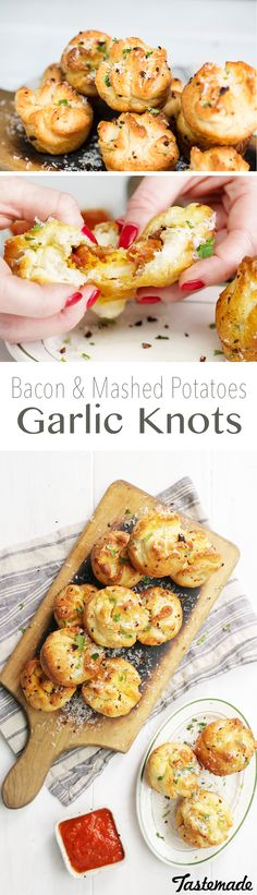 Garlic knots stuffed with cheesy mashed potatoes and bacon will change your life.