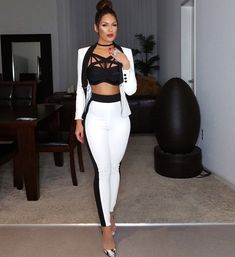 Bqueen 2017 New Fashion Elegant White Formal Two Piece Pant Suits Set For Women Business Double Breasted With Pockets Hot Sale(China (Mainland)) Night Outfits, Classy Outfits, Chic Outfits, Sexy Outfits, Dress Outfits, Fashion Outfits, Formal Outfits, Work Outfits, Summer Outfits