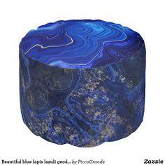 Beautiful blue lapis lazuli geode inspired pouf Interior Design Classes, Patterned Cake, Blue Aesthetic, Coastal Style, Lapis Lazuli, Stones And Crystals, Create Yourself, Beads, Gemstones