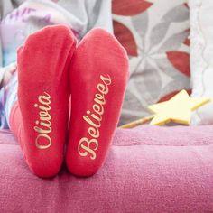 Christmas Kids Socks - Personalised Crimson and Gold Socks Unusual Christmas Gifts, Christmas Gifts For Kids, Gold Christmas, Christmas Themes, Kids Gifts, Childrens Christmas, Babies First Christmas, Personalized Gifts For Kids, Personalised Socks