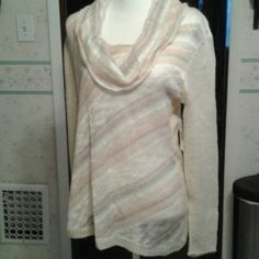 NWT New Direction light sweater sz L Light gray and pink running thru a cream sweater top new directions Sweaters Crew & Scoop Necks