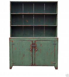 Country Primitive Painted Step Back China Cabinet Hutch Reproduction Furniture Photos and Information in AncientPoint Primitive Cabinets, Rustic Cabinets, Primitive Furniture, Primitive Kitchen, Country Primitive, Antique Furniture, Primitive Homes, Painted Furniture, Primitive Decor