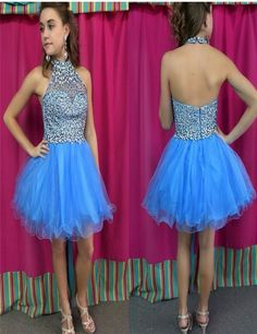 05b0c3a214 Find More Homecoming Dresses Information about Sparkly Modest Light Blue  Homecoming Dresses Halter Open Back Short