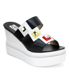 Take a look at this Black Geometric Embellished Wedge Sandal today! 24.99