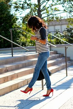 Red, Leather and Stripes. Heels always look super chic with jeans