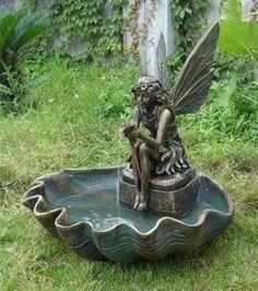 Fairy Water Fountain Indoor Outdoor Electric Garden Pixie Shell Patio Yard New