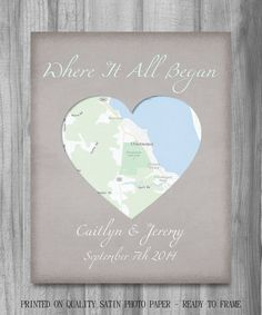 Custom map canvas art your location where it all began gift for him items similar to where it all began map print personalized engagement couples where they met wedding gift or anniversary art print vintange linen look on solutioingenieria Images