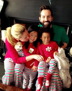 Katherine Heigl celebrates Christmas 2014 with her hubby Josh Kelley and daughters Naleigh, 6, and Adalaide, in matching PJs.