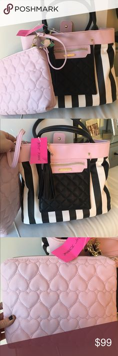 """💕BETSEY JOHNSON """"Bag In Bag"""" Stripe Large Tote💕 Brand new with tags! BRAND: Betsey Johnson Collection TITLE: """"Bag & Bag"""" ITEM: BM18980 COLOR: Black & Bone Stripe COMPARE @: $138 STYLE: Tote Bag + Pouch - 2 Piece Set CONDITION: Brand New With Tags Attached SIZE: Large/X-Large MEASUREMENTS: 12""""H x 14""""W x 6""""D x 9"""" duo PVC Handles CARE:  Wipe with damp cloth HARDWARE: Gold tone embraced hardware throughout, with Betsey Johnson signed hardware. Betsey Johnson Bags Totes"""