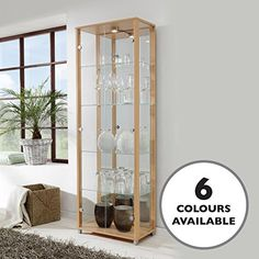 b252ae568 HOME Double Glass Display Cabinet Beech with 4 Glass Shelves, Spotlight,  Mirror Back - Garden Rattan Furniture