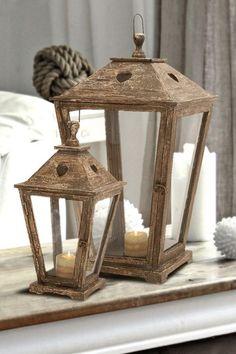 Coastal Decor Wood Glass Lanterns - Brown - Set of 2 Outdoor Candle Lanterns, Wooden Lanterns, Lanterns Decor, Glass Lanterns, Large Lanterns, Lantern Lamp, Wood Glass, How To Distress Wood, Woodworking Shop