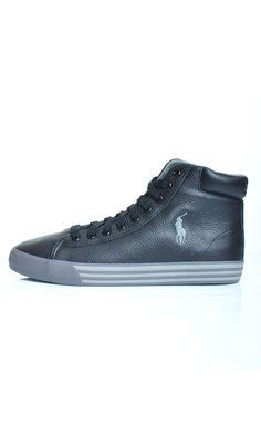 Scarpe Polo Ralph Lauren HARVEY MID In Pelle Sneakers Alte - Nero - Scarpe Uomo - A85Y2057 - Dursoboutique.com