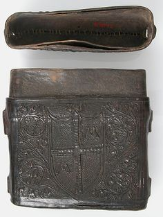 Book Box Date: 15th century Culture: Italian Medium: Cuir bouilli (tooled leather), polychromy Dimensions: Overall: 6 3/8 x 6 1/2 x 1 3/4in. (16.2 x 16.5 x 4.4cm)