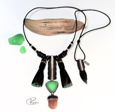 Green and Brown Beaded Cape Cod Sea Glass Necklace with Dark Brown Adjustable Cotton Cord.